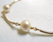 Bridal Bracelet: Pearls and Curved Gold Filled Bars