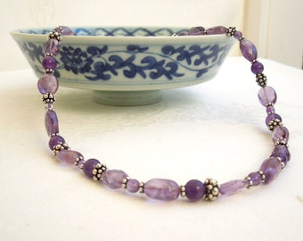 Amethyst Necklace- Bali Sterling Silver- Purple Gemstones