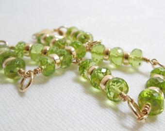 Peridot Gemstone Bracelet: Glorious Green and Gold