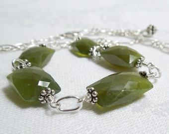 Moss Green Gemstone Necklace: Vesuvianite- Sterling Silver Chain- Bali Sterling Silver- Adjustable Necklace- Faceted Cushion Cut Idocrase