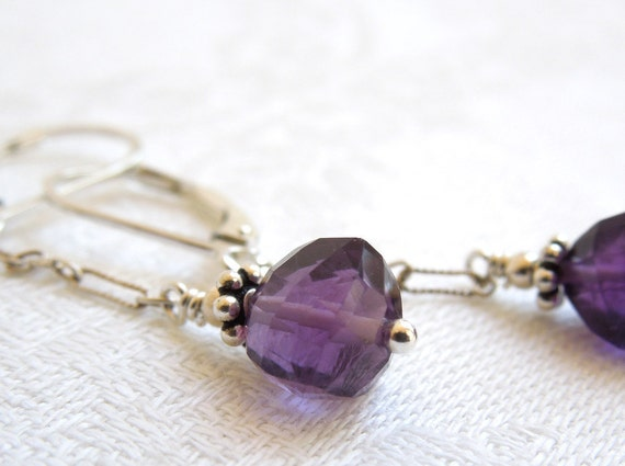 Deep Purple Amethyst Dangle Earrings: Amethyst- Balinese Silver- Sterling Silver Chain- Sixth Chakra- February Birthstone