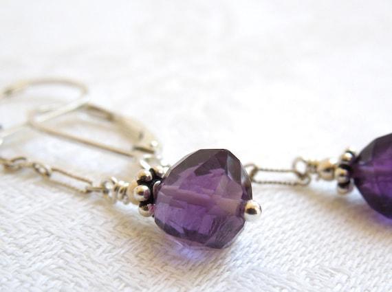 Deep Purple Amethyst Dangle Earrings: Amethyst- Balinese Silver- Sterling Silver Chain- Sixth Chakra- February Birthstone