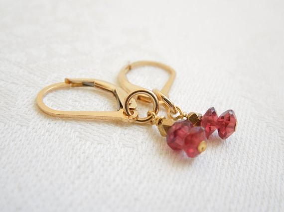 Garnet Earrings: AAA Garnets- Hill Tribe Gold Vermeil Beads- January Birthstone