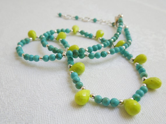 Turquoise Necklace: Chartreuse Teardrops and Blue Rounds