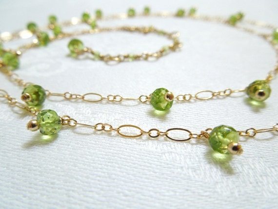 Grass Green Gemstone Necklace: Faceted Peridot- 14K Gold Filled Chains