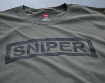 Sniper Tab Military Scout Sniper t shirt shooter army soldier spotter recon recce screenprint gift husband boyfriend son brother