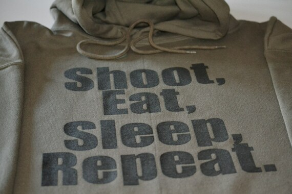 Gun Enthusiast Hooded Sweater Shoot Eat Sleep Repeat 2nd Amendment Hoodie Firearm Training Police Military Mens Sweater Gift For Husband