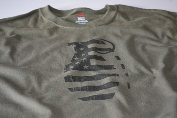 Pineapple nade Mk 2 grenade USA military t shirt size large, or choice of S,M,L,XL,2XL,3XL