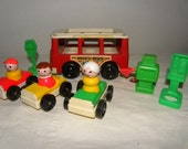 Fisher Price Vintage people with cars and bus - Charming set