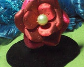 Vintage Ring Rose Design Red Textured Metal Party Rings Bling Bling Ring Holiday Wear Adjustable