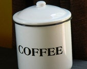 Coffee Canister, Enamel, Vintage, with lid, medium size, canister
