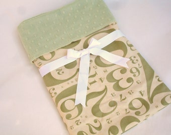 "Baby Blanket - Circa 1934 Chaplin in Sage & Cream with Sage Green Minky Dot - 30"" x 36"""