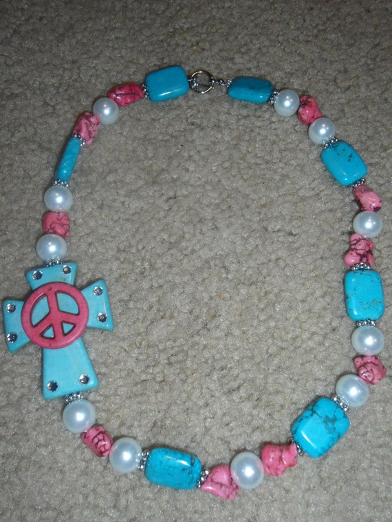 Turquoise and Pink Peace/Cross Chunky Cowgirl Necklace