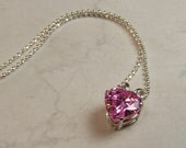 "Pink Synthetic Diamond, 9mm x 3 Carat Heart Cut, Sterling Silver Pendant Necklace, including 18"" to 20"" (adjustable) Sterling Chain"