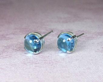 Fresh 'Swiss Blue' Topaz, 0.55 Carat x 5mm, Cabochon Cut, Sterling Silver Post Earrings