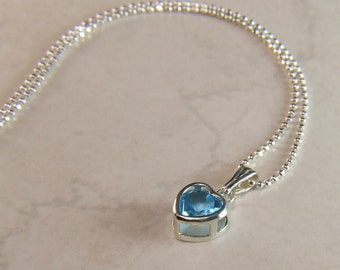 """Fresh 'Swiss Blue' Topaz, 6mm Heart Cut, Sterling Silver Pendant Necklace, including 18"""" to 20"""" (adjustable) Sterling Chain"""