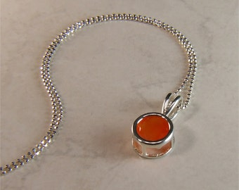 Carnelian (Faceted), 8mm x 1.80 Carats, Round Cut, Sterling Silver Pendant Necklace