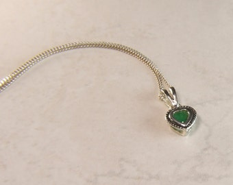 Emerald (4.0mm Opaque Genuine Emerald), 0.25 Carat, Heart Cut, Sterling Silver Pendant Necklace
