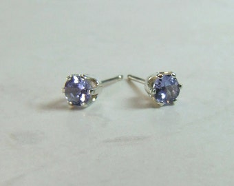 Genuine Tanzanite, 3.70mm x 0.20 Carat, Round Cut, Sterling Silver Stud Earrings