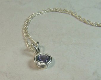 """Lilac Tanzanite (Genuine), 6mm x 0.76 Carat, Round Cut, Sterling Silver Pendant Necklace, including 18"""" to 20"""" (adjustable) Sterling Chain"""
