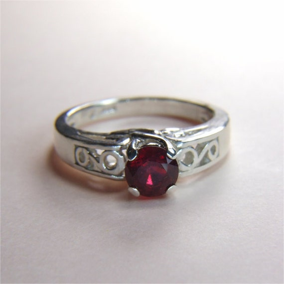 Madagascan Ruby (Genuine), Round Cut, 6mm x 1.30 Carats, Sterling Silver Ring