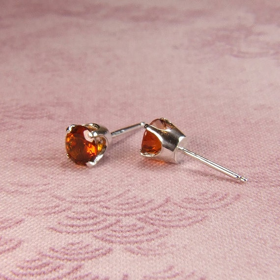 Madeira Citrine, 5mm Round Cut, Sterling Silver Earrings