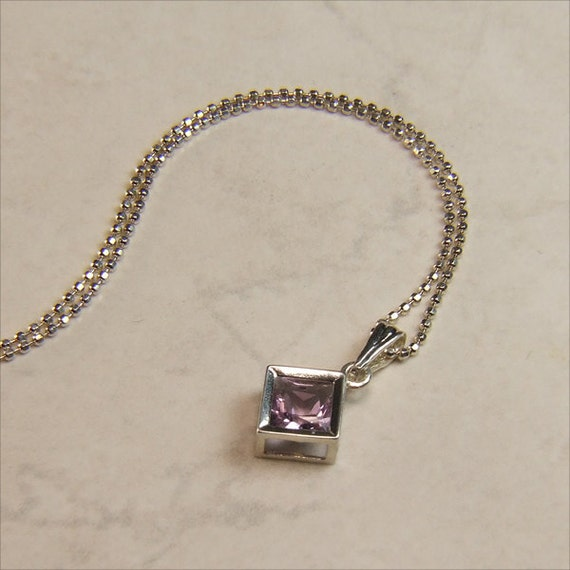 """Rare 'Rose de France' Amethyst, 5mm Emerald-Cut, Sterling Silver Pendant Necklace, including 18"""" to 20"""" (adjustable) Sterling Chain"""