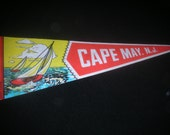 1980's vintage Cape May NJ pennant - vacation souviner - Jersey shore