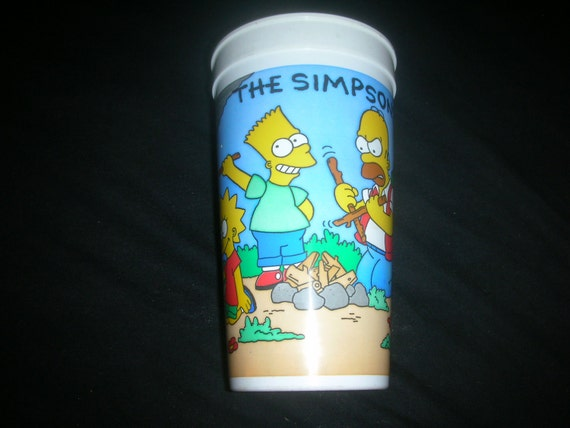 1990 vintage The Simpsons souvenir plastic cup from Burger King