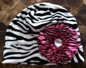 Black and White Zebra Hat with Pink and Black Zebra Flower