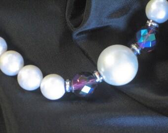 Chunky large White Faux Pearl and Purple Aurora Borealis Rhinestone Necklace