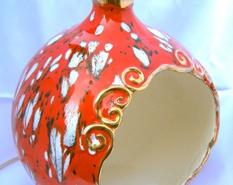 Huge Mid Century Ceramic Pottery Lamp Christmas Ornament One of a Kind