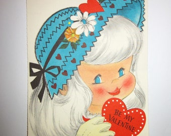 Vintage Hallmark Valentine Card of a Little Girl in a Blue Bonnet, MINT UNUSED condition from the 1950's