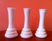Set of 3 Vintage Milkglass Vases - Modern Design