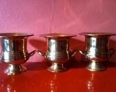 Set of 3 Vintage Gold Brass Urns, Miniature Metal Trophies, Cool Planters