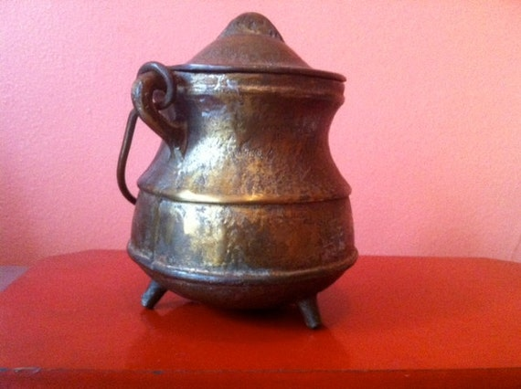 Vintage Brass Cauldron, Halloween Decoration, Heavy Pot