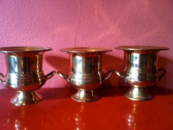 Set of 3 Vintage Gold Brass Urns, Miniature Metal Trophies, Cool Planters