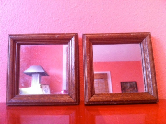 Pair of 2 Vintage Wood Framed Mirrors, Square, Paintable