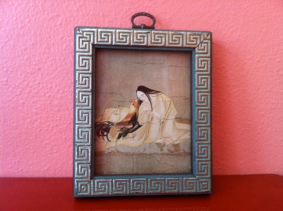 Vintage Asian Figure & Rooster in Silver Detailed, Blue Painted Wood Frame