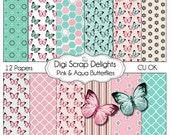 Pink & Aqua Butterflies Digital Scrapbook Paper for scrapbooking, card making, photographers, photo cards, Instant Download