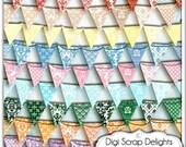 Digital Damask Bunting Banners Bundle - Clip Art for Cards, Design, Digital Scrapbooking, Instant Download