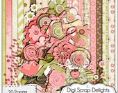 Hannah Mega Digital Scrapbook Kit (Coral Pink, Green, Brown), Instant Download