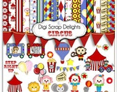 Circus Clip Art,  Circus Animals, Scrapbook Kit, Clowns, Monkey, Invite, Instant Download, Baby's First Birthday Ideas