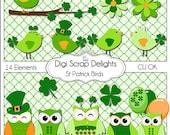 St Patrick Bird Party Digital Scrapbooking Elements  (Gren Clip Art), Instant Download