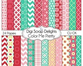 50% Off INDSD Sale Color Me Pretty Digital Scrapbook Paper, Instant Download
