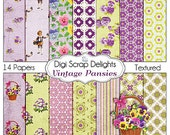 Shabby Chic Pansies Vintage Papers for Digital Scrapbooking, Card Making, Photo Backgrounds, Instant Download