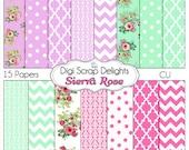 Shabby Chic Vintage Sierra Rose Digital Papers (Cath Kidson style ) w Quatrefoil, Chevron, Damask, Mint Green, Lilac, Pink