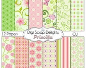 2 DOLLAR SALE! Pink and Green Digital Scrapbook Paper Priscilla for Scrapbooking, Card Making, Photo Backgrounds