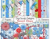 Sweet Days Digital Scrapbook Kit in Red, Aqua Blue, Green, & Gray, Instant Download