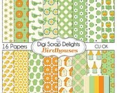 Bird Houses Digital Scrapbooking Scrapbook Paper  in Orange, Green, and Aqua Blue, Instant Download